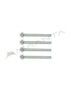 Set 4 pz - Barre filettate acciaio zincato M10 - 12 cm - include rondelle e dadi